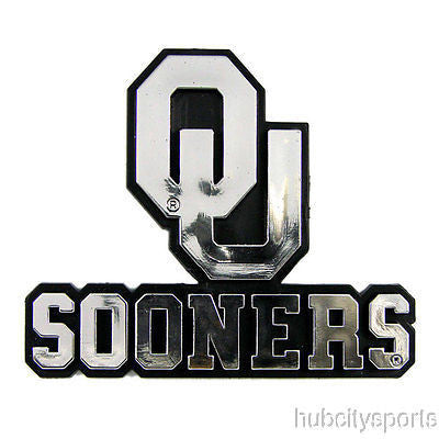 Oklahoma Sooners Logo 3D Chrome Auto Decal Sticker NEW!! Truck or Car