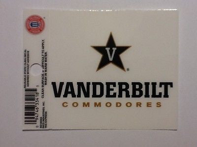 Vanderbilt Commodores Static Cling Sticker NEW!! Window or Car! NCAA