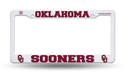 Oklahoma Sooners White Plastic License Plate Frame NEW!! NCAA Boomer Sooner