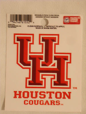 Houston Cougars Static Cling Sticker NEW!! Window or Car! NCAA