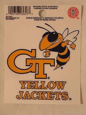 Georgia Tech Yellow Jackets Static Cling Sticker NEW!! Window or Car! NCAA