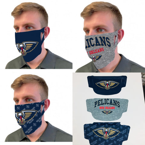 New Orleans Pelicans Fan Masks 3 Pack One Size Fits Most NEW!
