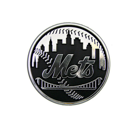 New York Mets Logo 3D Chrome Auto Decal Sticker NEW! Truck or Car