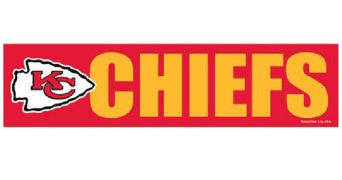 Kansas City Chiefs Bumper Sticker NEW!! 3 x 11 Inches Free Shipping! Wincraft