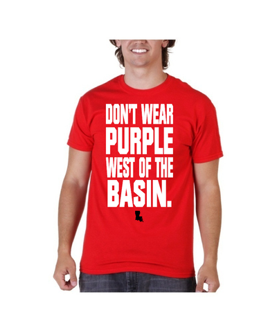Don't Wear Purple West of the Basin Louisiana Ragin Cajuns Red Shirt