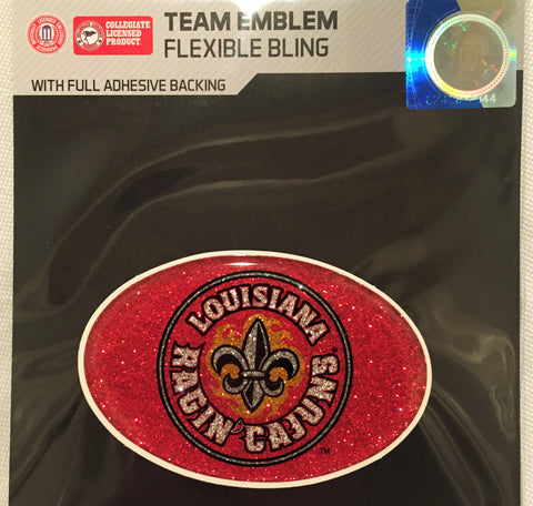 Louisiana Ragin Cajuns *Bling* Color Logo Oval Auto Emblem Cell Phone Decal NEW