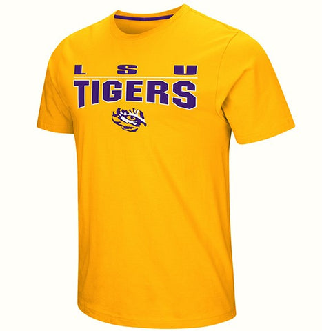 LSU Tigers Mens Short Sleeve T-Shirt Gold LSU on Back Free Shipping!