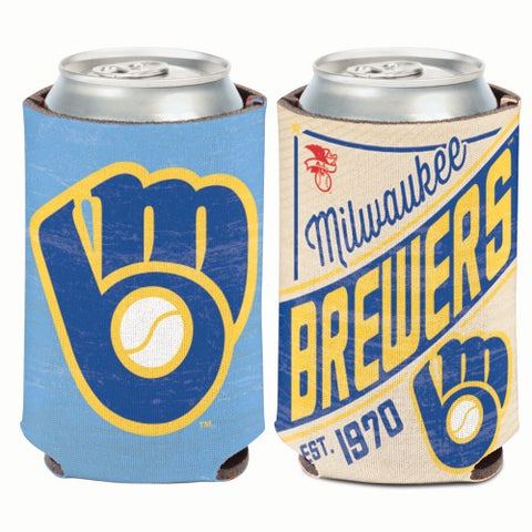 Milwaukee Brewers Retro Logo Can Koozie Holder Free Shipping! NEW! Collapsible