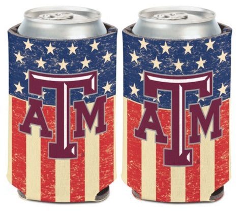 Texas A&M Aggies Patriotic Can Koozie Holder Free Shipping! NEW! Collapsible