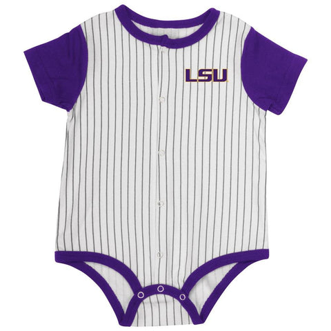LSU Tigers Infant Onesie Baseball Pinstripes
