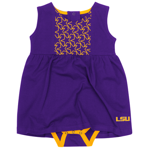 LSU Tigers Infant Onesie Dress Flyer Stars