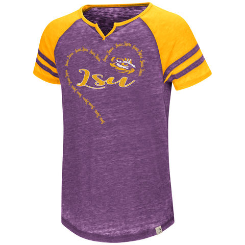 LSU Tigers Girls Heart T-shirt Purple Free Shipping! Raglan