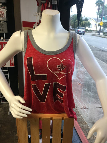 Louisiana Ragin Cajuns Womens Tank Top LOVE Red
