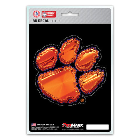Clemson Tigers 3D Die Cut Decal NEW!! 4 X 4 Window or Car! Flat Decal