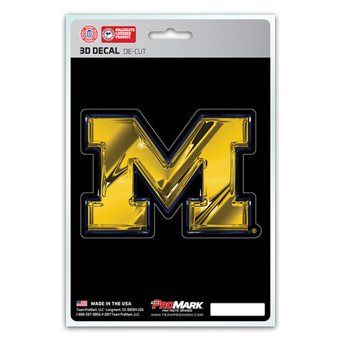 Michigan Wolverines 3D Die Cut Decal NEW!! 4 X 3 Window or Car! Flat Decal
