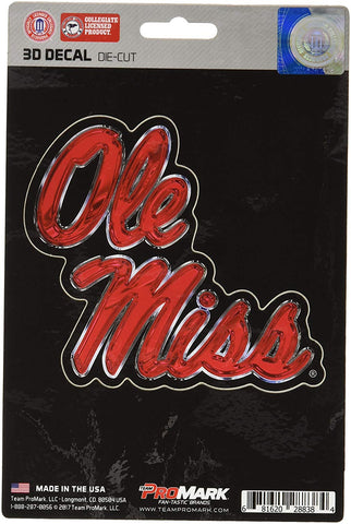 Ole Miss Rebels 3D Die Cut Decal NEW!! 4 X 4 Window or Car! Flat Decal
