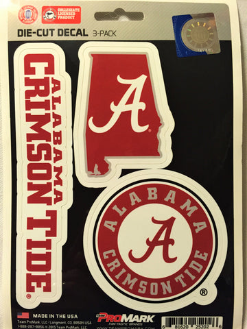 Alabama Crimson Tide Set of 3 Die Cut Decal Stickers State Outline Free Shipping