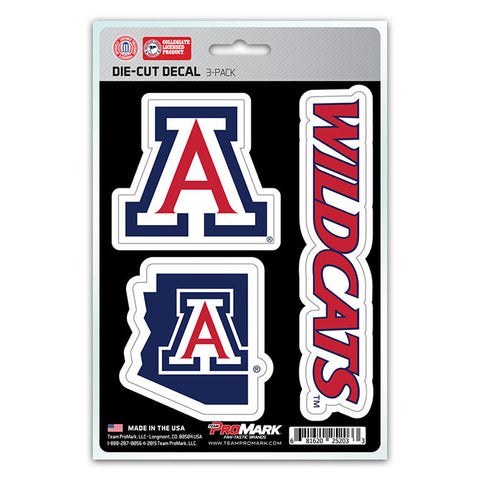 Arizona Wildcats Set of 3 Die Cut Decal Stickers State Outline Free Shipping