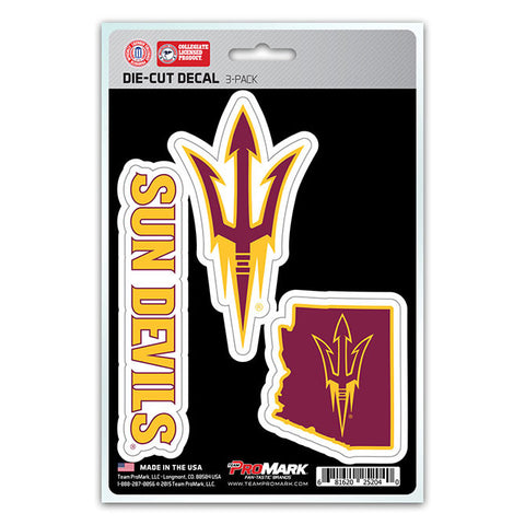 Arizona State Sun Devils Set of 3 Die Cut Decal Stickers State Outline Free Shipping