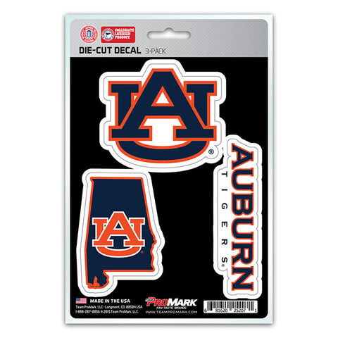 Auburn Tigers Set of 3 Die Cut Decal Stickers State Outline Free Shipping!
