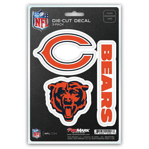 Chicago Bears Set of 3 Die Cut Decal Stickers Head Logo Free Shipping