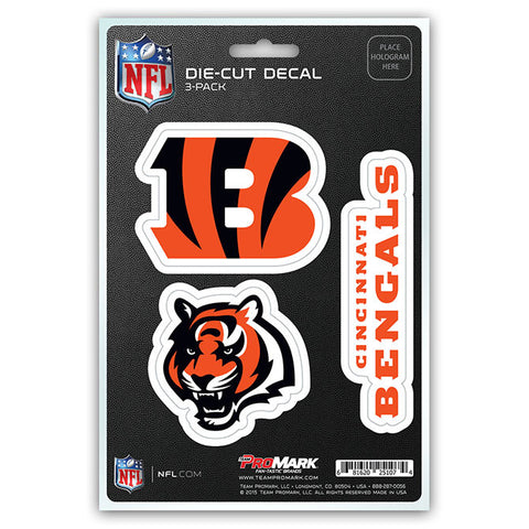 Cincinnati Bengals Set of 3 Die Cut Decal Stickers Head Logo Free Shipping