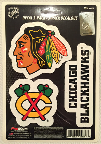 Chicago Blackhawks Set of 3 Die Cut Decal Stickers NEW Free Shipping!