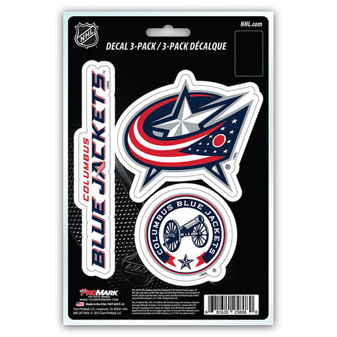 Columbus Blue Jackets Set of 3 Die Cut Decal Stickers NEW Free Shipping!