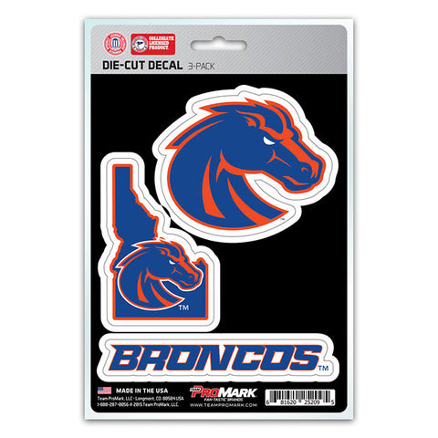 Boise State Broncos Set of 3 Die Cut Decal Stickers State Outline Free Shipping
