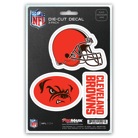 Cleveland Browns Set of 3 Die Cut Decal Stickers Dawg Pound Logo Free Shipping
