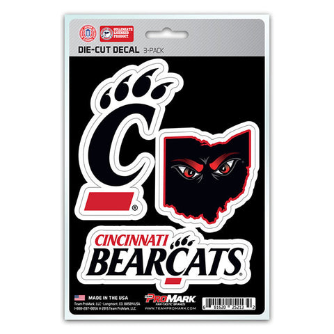 Cincinnati Bearcats Set of 3 Die Cut Decal Stickers State Outline Free Shipping