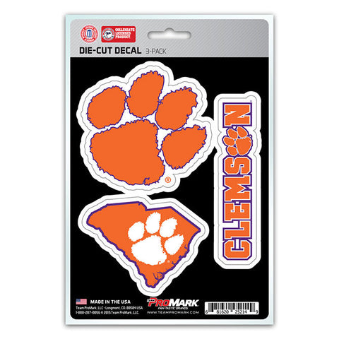 Clemson Tigers Set of 3 Die Cut Decal Stickers State Outline Free Shipping!