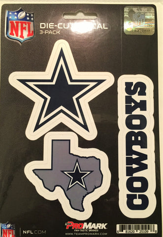Dallas Cowboys Set of 3 Die Cut Decal Stickers State Outline Free Shipping