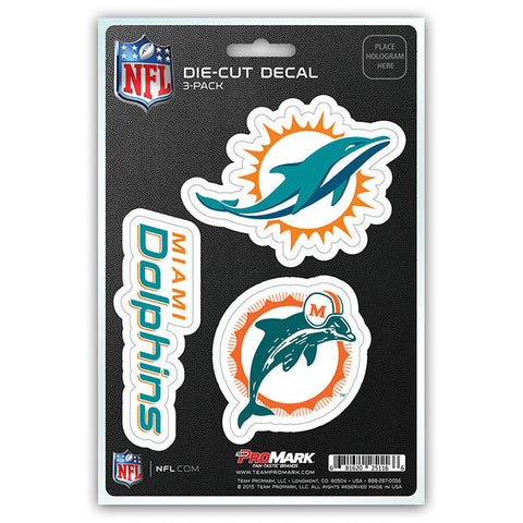 Miami Dolphins Set of 3 Die Cut Decal Stickers Retro Logo Free Shipping
