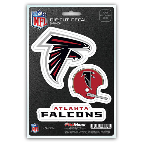 Atlanta Falcons Set of 3 Die Cut Decal Stickers Retro Helmet Logo Free Shipping