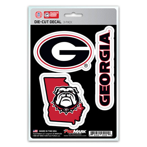 Georgia Bulldogs Set of 3 Die Cut Decal Stickers State Outline Free Shipping