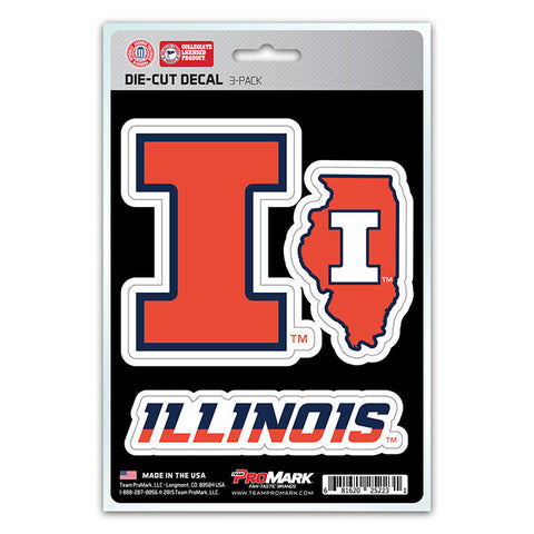 Illinois Fighting Illini Set of 3 Die Cut Decal Stickers State Outline Free Shipping