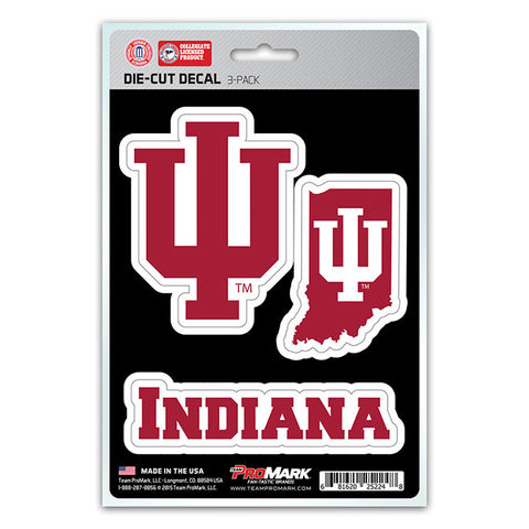 Indiana Hoosiers Set of 3 Die Cut Decal Stickers State Outline Free Shipping