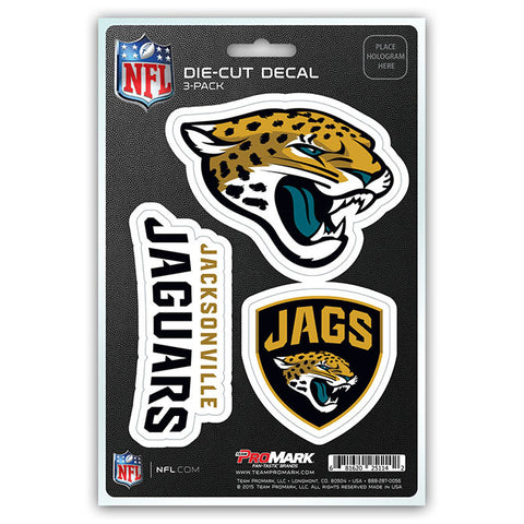 Jacksonville Jaguars Set of 3 Die Cut Decal Stickers Shield Logo Free Shipping