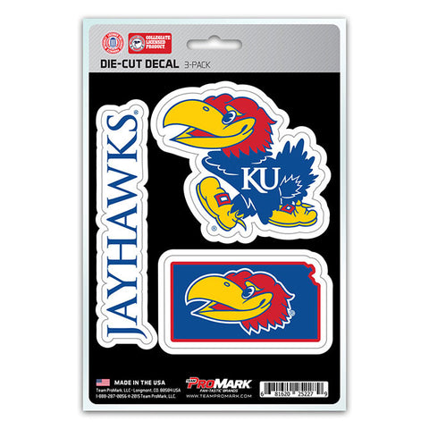 Kansas Jayhawks Set of 3 Die Cut Decal Stickers State Outline Free Shipping