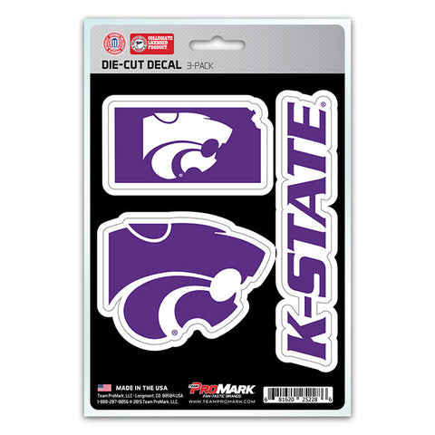 Kansas State Wildcats Set of 3 Die Cut Decal Stickers State Outline Free Shipping