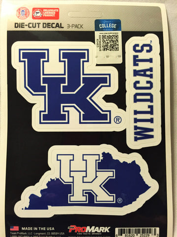 Kentucky Wildcats Set of 3 Die Cut Decal Stickers State Outline Free Shipping!