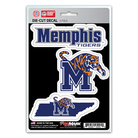 Memphis Tigers Set of 3 Die Cut Decal Stickers State Outline Free Shipping