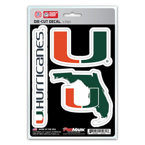 Miami Hurricanes Set of 3 Die Cut Decal Stickers State Outline Free Shipping!