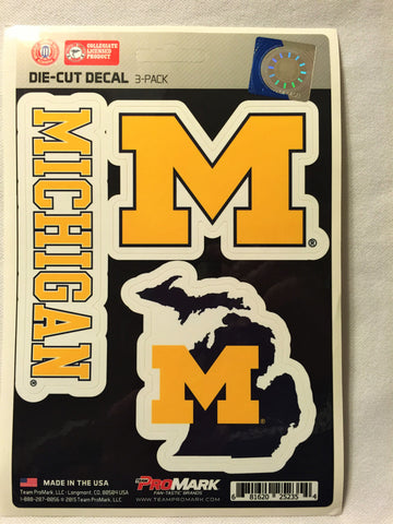 Michigan Wolverines Set of 3 Die Cut Decal Stickers State Outline Free Shipping!