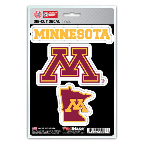 Minnesota Gophers Set of 3 Die Cut Decal Stickers State Outline Free Shipping!