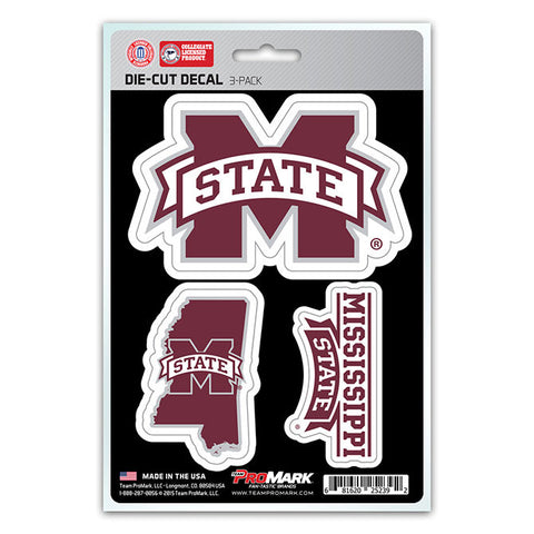 Mississippi State Bulldogs Set of 3 Die Cut Decal Stickers State Outline Free Shipping!
