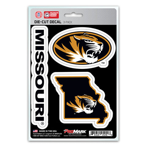 Missouri Tigers Set of 3 Die Cut Decal Stickers State Outline Free Shipping!