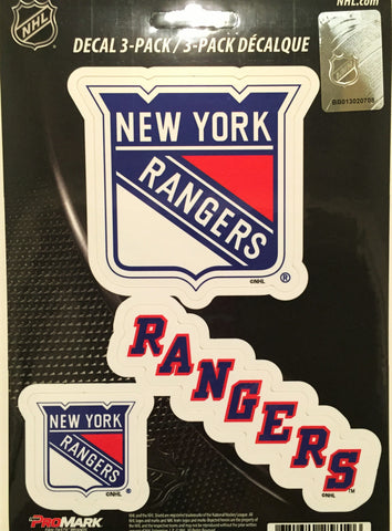 New York Rangers Set of 3 Die Cut Decal Stickers NEW Free Shipping!