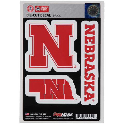Nebraska Huskers Set of 3 Die Cut Decal Stickers State Outline Free Shipping